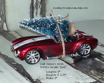 ON SALE Red Camaro Car Christmas Ornament with Bottle Brush Christmas Tree / Ready to Ship.