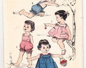 Vintage 1950 Advance 8626 Sewing Pattern Toddler's Sunsuit and Over-Dress Size 1