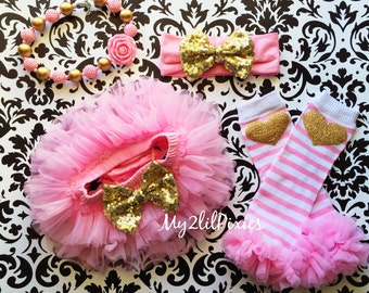 First Birthday Set-  Pink tutu, Leg warmers,  Pink and Gold Headband, Necklace , Birthday Girl, 1st Birthday, Baby's First Birthday