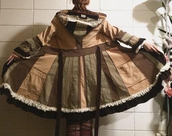 Earthy boho corduroy patchwork jacket upcycled ooak country girl