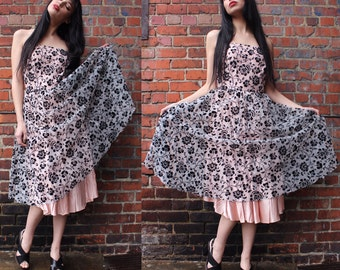 Vintage Pink Floral Tea Length Dress