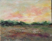 Landscape painting, oil painting, small peaceful landscape 8x10 with distant trees, texture in field