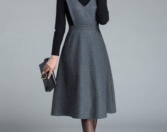 dark grey skirt, knee length skirt, skirt with pockets, high waisted skirt, casual skirt, winter skirt, wool skirt, custom made skirt 1645