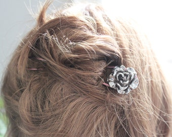 Copper hair fork with antique silver rose and crystal - Hair pin - Hair accessory - Hair stick