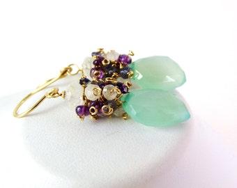 Seafoam Green Leaf Cluster Earrings - AdoniaJewelry