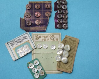 41 Tiny Antique Buttons French Mother of Pearl Dark Smoky Shell Creamy white Pearls Original Cards Tiny Doll Size c.1900 France