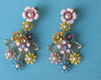 60s Earrings Bouquets Drop Spray or Flowers Multicolor Pastels Painted Rhinestones & Pearls