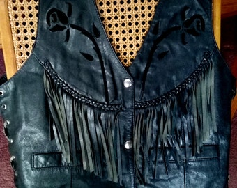 90's Ladies Black Leather Vest by Mod, Size 14, Laced Sides, Fringe and Braided Leather with Rose Cut-out Design