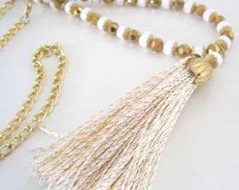 Gold and white sparkle long tassel necklace