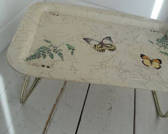 1960s Vintage TV Tray Bed Butterfly Metal