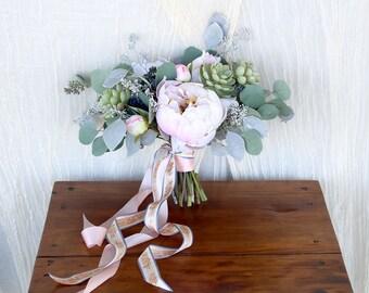 Succulent Peony Wedding Bouquet | Mint Blush and Something Blue | Eucalyptus Silk Flower Bouquet | SG-1016