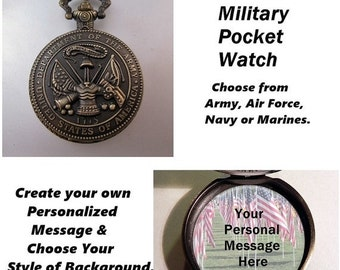 "XMAS SALE Custom Military USA Pocket Watch Army Air Force Navy Marine Personalized with 31"" Chain Necklace Veteran Soldier Gift"
