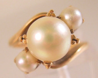 1940s 14k Triple Sea Pearl Ring Size 5.5 Yellow Gold Fine Jewelry Jewellery