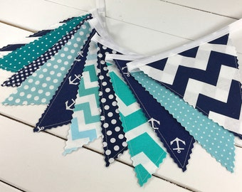 Bunting Banner, Photography Prop, Fabric Flags, Nautical Nursery Decor, Baby - Aqua Blue, Navy Blue, Teal, Chevron, Anchors, Turquoise
