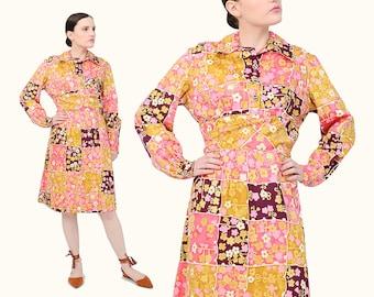 Vintage 60s Color Block Floral Dress - Long Sleeve Collared Knee Length 1960s A-line Dress - Mod Cotton Dress Medium Large M L