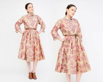 Vintage 50s Floral Taffeta Dress - Shirtwaist Dress - Pleated Full Skirt - 1950s Shirt Dress - Pink Tan Green - Medium M