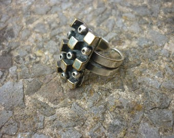 Vintage Mid Century Brutalist Modernist Ring