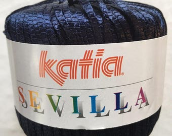 "Katia Sevilla #32 Navy Blue Skinny Ribbon Yarn 50gr 153yds 1/8"" wide Soft!"