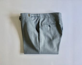 Vintage Men's 70's Gray Pants, Polyester, Adjustable Waist (W38 x L31)