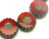 Daisy Flower Beads Red/Orange 15 Beads (11mm) - Czech Beads