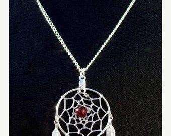 "ON SALE BELLA ll (Necklace)  Dream catcher necklace with garnet 1"" Dream web"