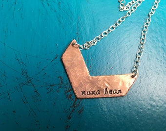 Mama Bear Chevron mix metals necklace Copper and Sterling Silver