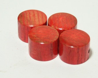 Set of 4 Ash Guitar Knobs stained GI Red (3/4 dia x 11/16h)
