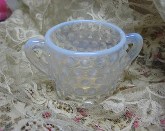 Opalescent Moonstone Sugar Bowl with Handles, Fenton Hobnail Opalescent Moonstone,Anchor Hocking Moonstone Hobnail,Vintage Hobnail Moonstone