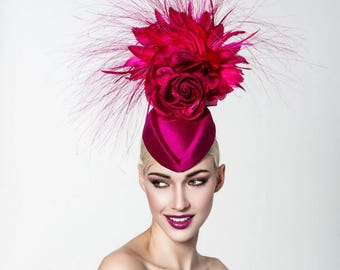 Raspberry feathered headpiece, Raspberry fascinator, Kentucky derby fascinator