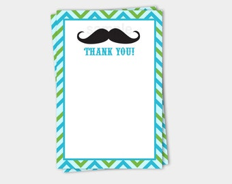 Mustache Bash Little Man Matching Flat Card Thank you Baby Shower   Birthday INSTANT DOWNLOAD bs-028