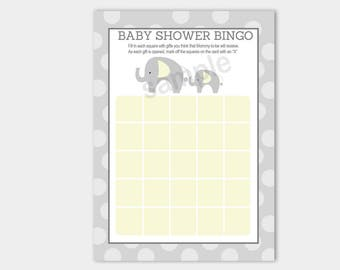 Printable Gray and Yellow Elephant Baby Shower Bingo Game INSTANT DOWNLOAD bs-098