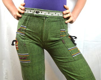 Vintage Guatemala Hippie Embroidered Green Bell Bottom Pants - XS