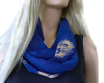Cobalt blue with gold feather print Chiffon infinity scarf in royal blue/ cowl- Instant gratification-women summer scarves