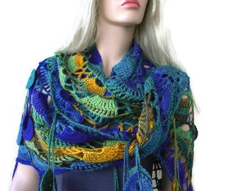Riverdance  Bohemian crochet scarf-Greens Blues and mustard Super lacy Crochet oversize scarf with fringes-Silk and mohair-Handmade