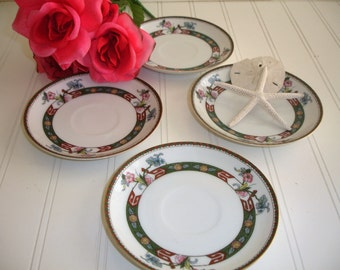 Vintage Noritake China  Saucers Set of 4 Rosewood Mix and Match Shabby Cottage