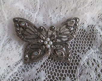 Vintage Avon Butterfly Pin, Silvertone Rhinestone  Faux Seed Pearls Marcasite, Ladies brooch, Avon Jewelry