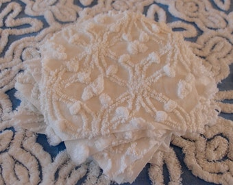 "Vintage Chenille Fabric Quilt Squares - 12 - 6"" squares in WHITE, all different patterns - 500-104"