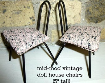 2 Vintage Mid-Mod Doll Chairs. Five Inches Tall. Appears to be Hand Made. Vinyl Seat, Hairpin Backs. Retro Doll Chair.