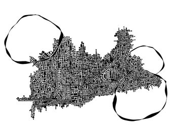 Abstract Chicago Subway Map Pen & Ink