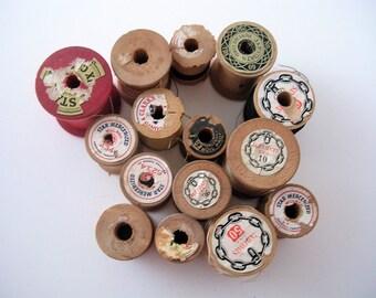 Vintage Old Wood Thread Spools Star JP Coats