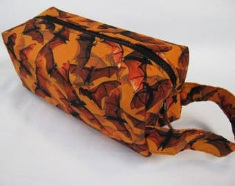 Realistic Orange Bats Flying with surprise embroidery inside - Cosmetic Bag Makeup Bag LARGE