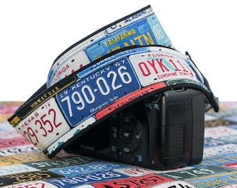 dSLR Camera Strap, License Plates, Auto, Mens camera strap, Canon, Nikon, SLR, Mirrorless, 167 w
