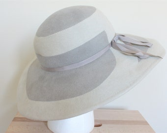 Two-Toned Gray Velour Wide Brim Hat
