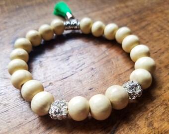 Boho bead bracelet with bright tassel, wooden beaded bracelet, stretch bead bracelet, rhinestone bead bracelet, stacking bracelets