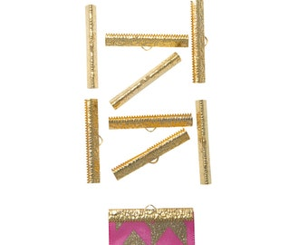50 pieces  40mm  ( 1 9/16 inch ) Gold Ribbon Clamp End Crimps - Artisan Series