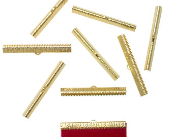 50pcs.  50mm  (2 inch) Gold Ribbon Clamp End Crimps - Artisan Series