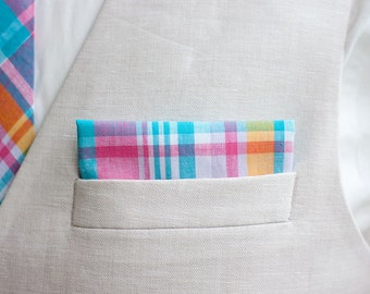 Pocket Square, Pocket Squares, Handkerchief, Mens Pocket Square, Boys Pocket Square, Wedding Pocket Squares - Aqua, Pink, Yellow Plaid