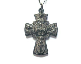 Sterling Silver 4 Way Cross Vintage Pendant Sterling Chain