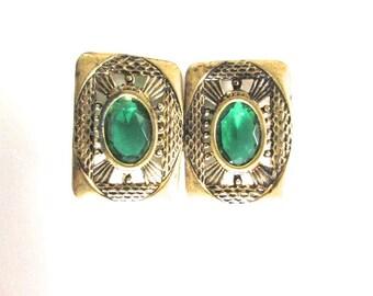 Vintage Sash Buckle Emerald Green Glass Gilt Clip Czech Bohemian Czechoslovakia