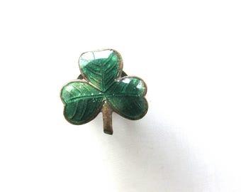 Enamel Clover Shamrock Cuff Button Victorian Edwardian Three 3 Leaf St Patricks Day Rare